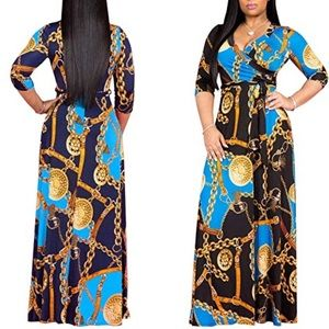 V Neck 3/4 Sleeves Faux Wrap Maxi Dress with Belt